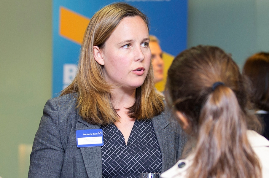 Female-identifying individual speaking to students at a Cityview event
