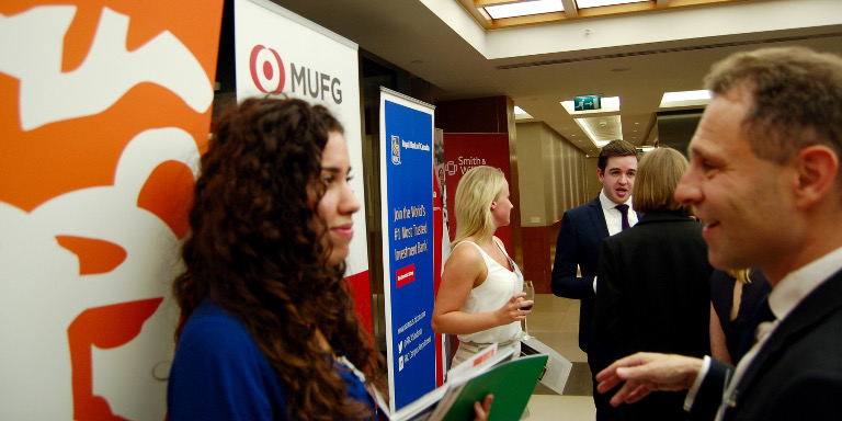 Students networking with industry professionals at a Stand Out event